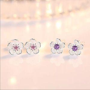 Sterling Silver 925 Flower Stud Earrings